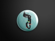 Pin badge blu unicyclist